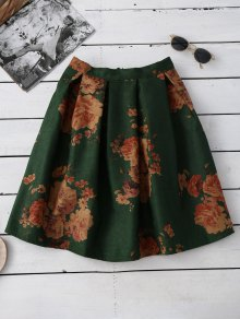 Flower Knee Length A-Line Skirt - Green