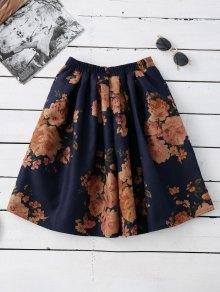 Knee Length Floral A-Line Skirt PURPLISH BLUE: Skirts ONE SIZE | ZAFUL