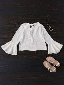 Tied Flare Sleeve Linen Blouse