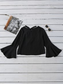 Tied Flare Sleeve Linen Blouse - Black L