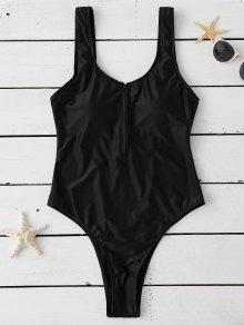 ملابس السباحة مع الرجل المرتفع والسحاب المنتصف - أسود L
