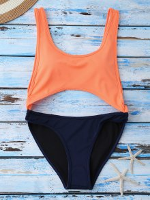 Color Block Cut Out Swimwear - Orange M