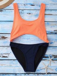 Color Block Cut Out Swimwear - Orange S