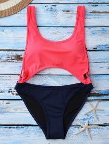 Color Block Cut Out Swimwear - Red S