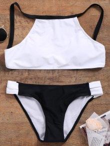 Cutout Color Block Bikini Set