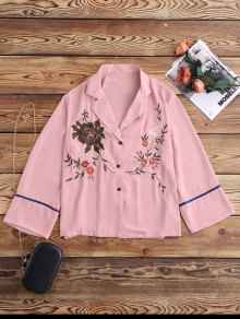 Embroidered Pajama Shirt - Pink M