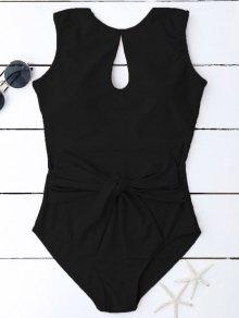 Keyhole Bowknot Swimwear - Black L