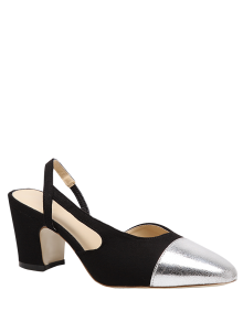 Slingback Color Block Chunky Heel Pumps - Black
