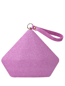 Glitter Geometric Sequin Evening Bag - Pink