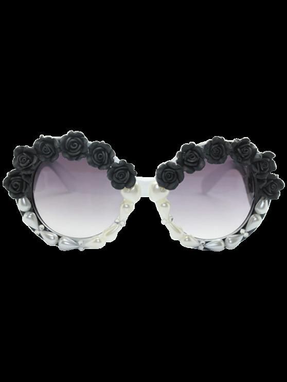 latest Curving Leg Rose Faux Pearl Sunglasses - BLACK