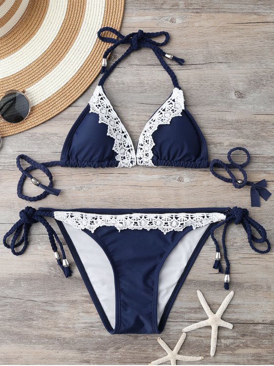 Braided Contrast Lace String Bikini - BLUE S Mobile
