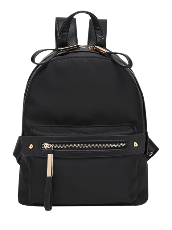 shop Casual Zips Nylon Backpack - BLACK