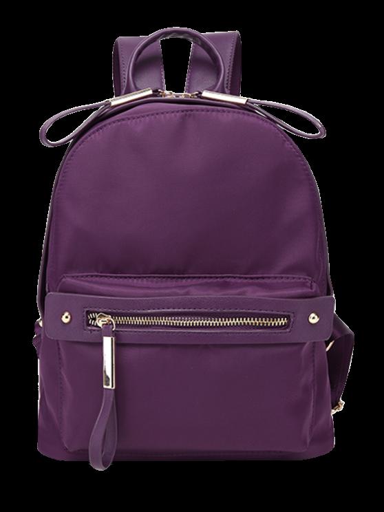 shops Casual Zips Nylon Backpack - PURPLE