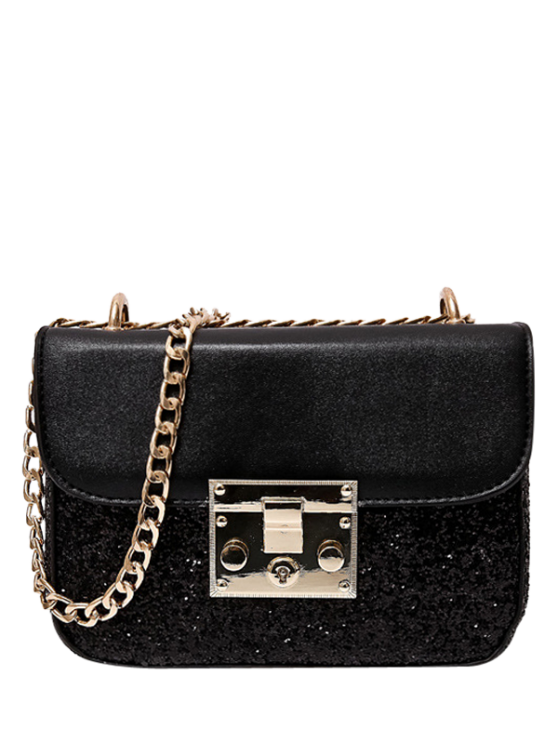 womens Sequins Panel Mini Cross Body Bag - BLACK
