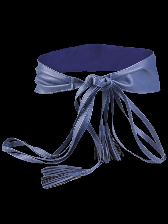 Long Tail Tassel lacent large ceinture - Bleu Cadette