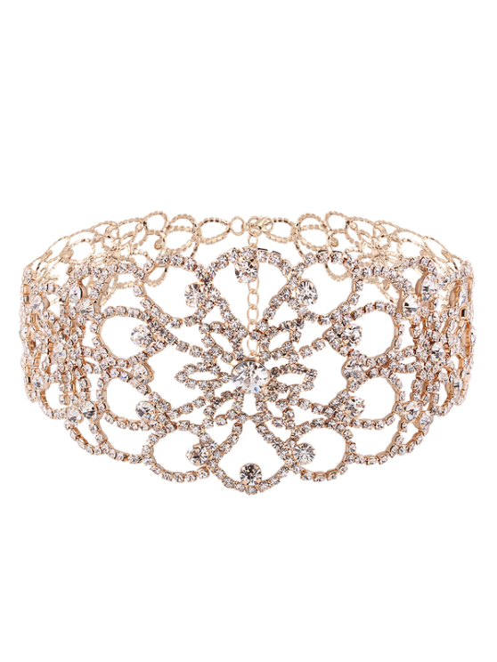 Collier floral de strass - Or