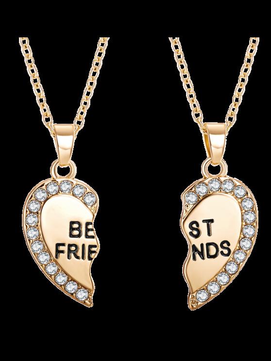 Colliers d'amitié à pendants en cœurs de strass gravés - Or