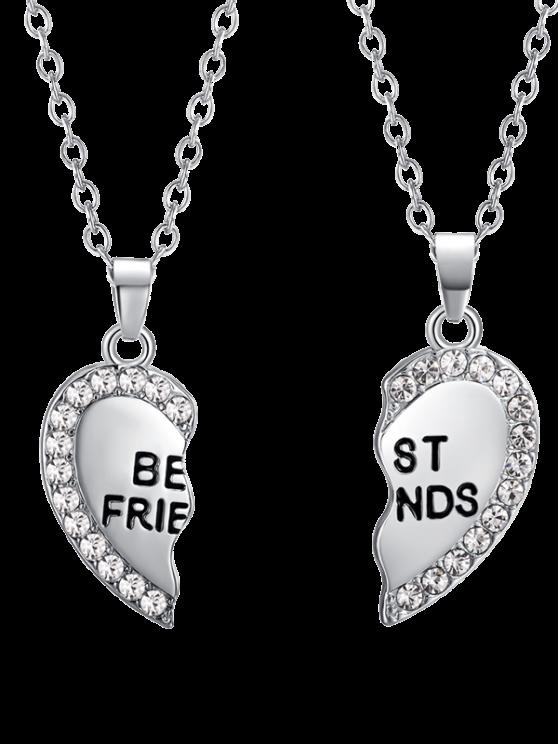 Colliers d'amitié à pendants en cœurs de strass gravés - Argent