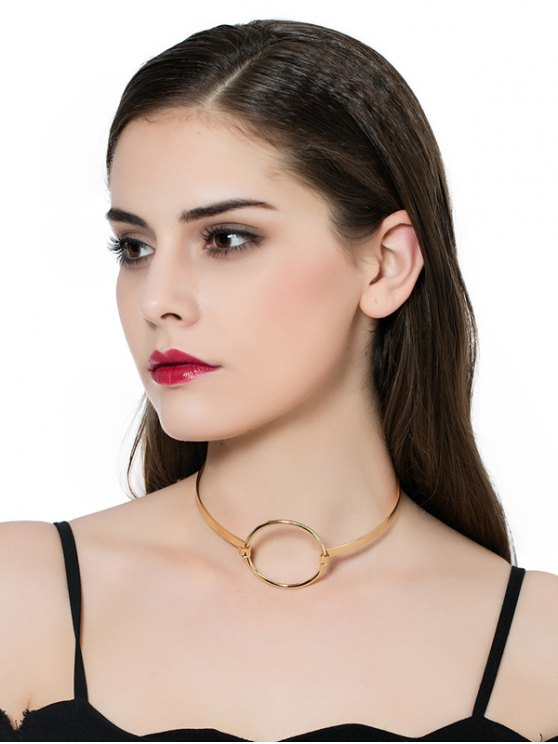 hot Alloy Vintage Circle Necklace - GOLDEN
