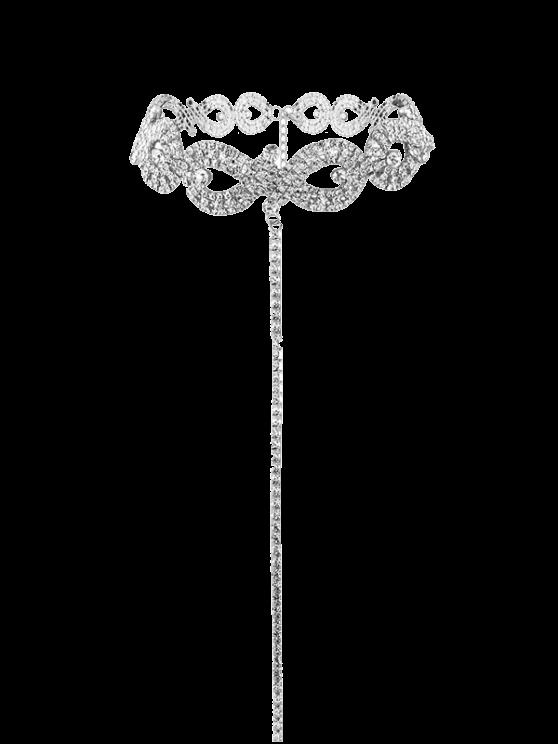Collier infini en alliage de strass - Argent