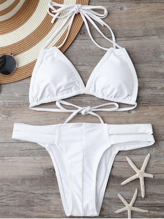 Haut de bikini rembourré et Bas bandé - Blanc L