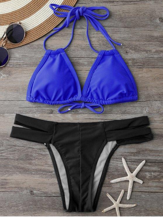 Bikini dos-nu à encolure plongeante et Bas en bandeau - Bleu et Noir S