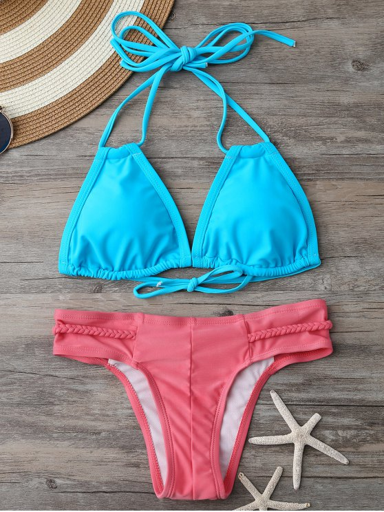 Haut de bikini rembourré et Bas à lanières tressées - Bleu et Rose S