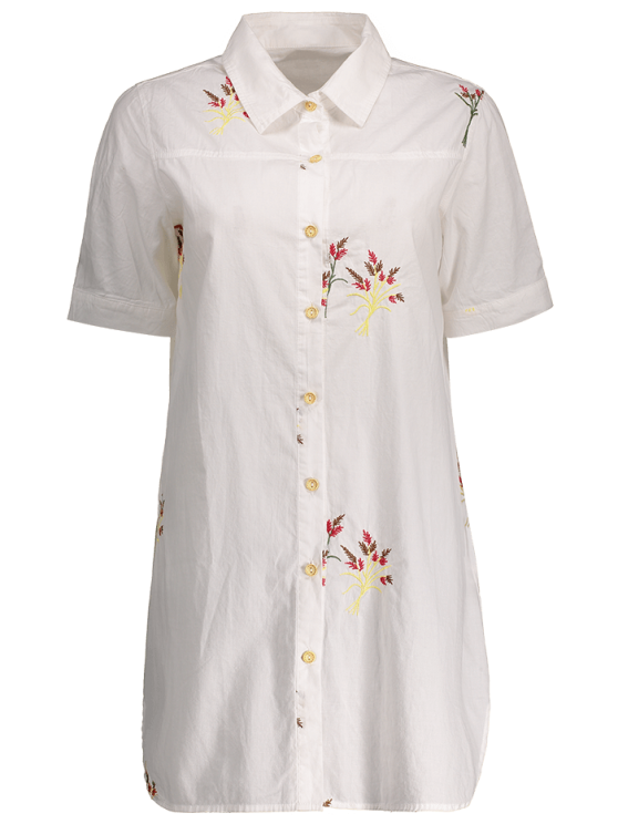 Embroidered Cotton Shirt Dress - WHITE S Mobile