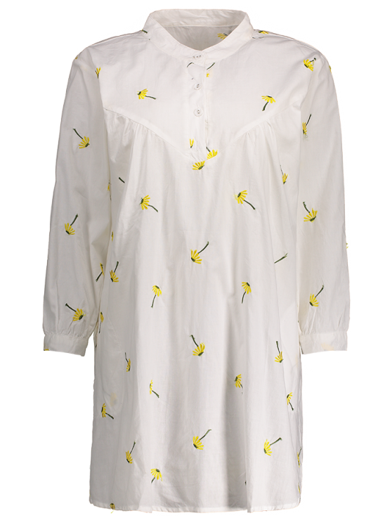 Cotton and Linen Smock Dress - WHITE ONE SIZE Mobile