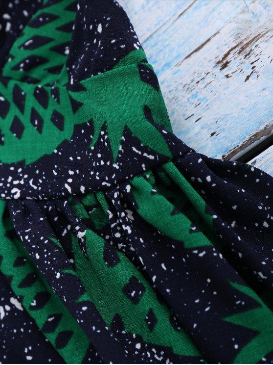 Crosscriss Pineapple Print Beach Dress - PURPLISH BLUE M Mobile