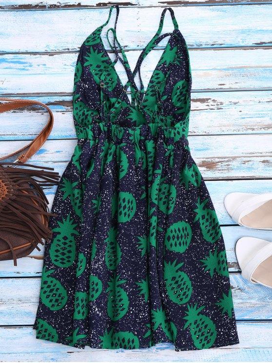 Crosscriss Pineapple Print Beach Dress - PURPLISH BLUE L Mobile