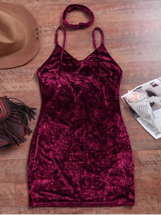 Crushed Velvet Bodycon Slip Dress - WINE RED S Mobile