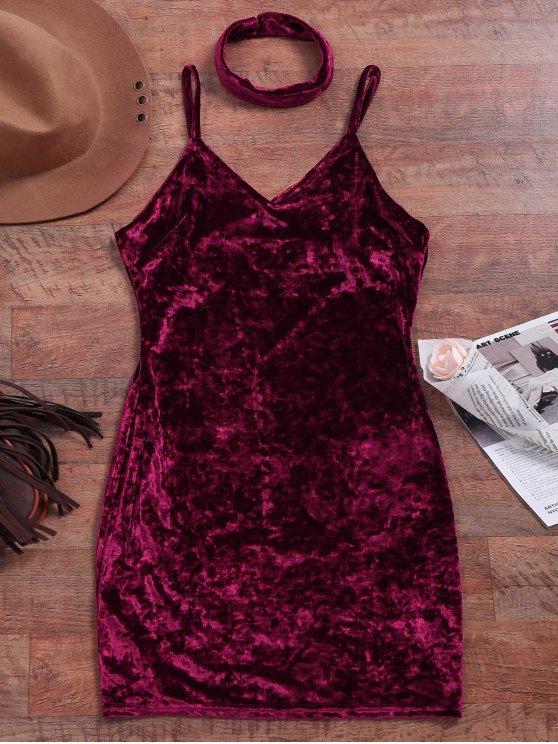 Terciopelo machacado Vestido ajustado - Vino Rojo L