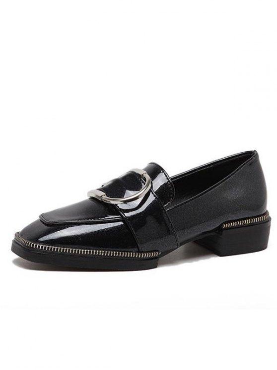 Buckle Strap Square Toe Flat Shoes - BLACK 37 Mobile