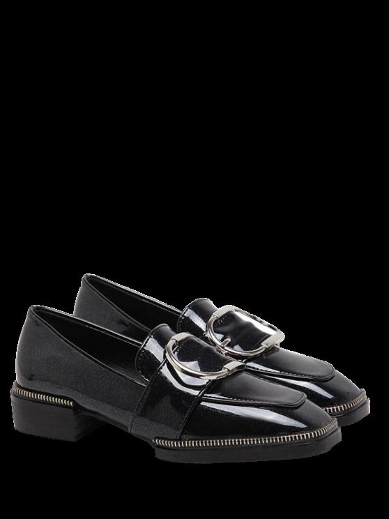Chaussures plates à bouts carrés et sangles bouclées - Noir 37