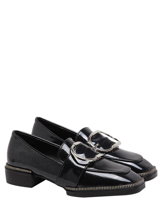shops Buckle Strap Square Toe Flat Shoes - BLACK 38