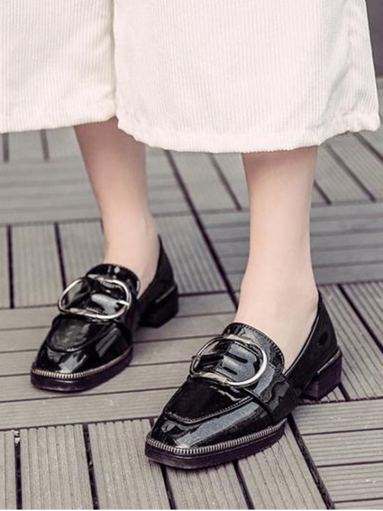 Buckle Strap Square Toe Flat Shoes - BLACK 39 Mobile