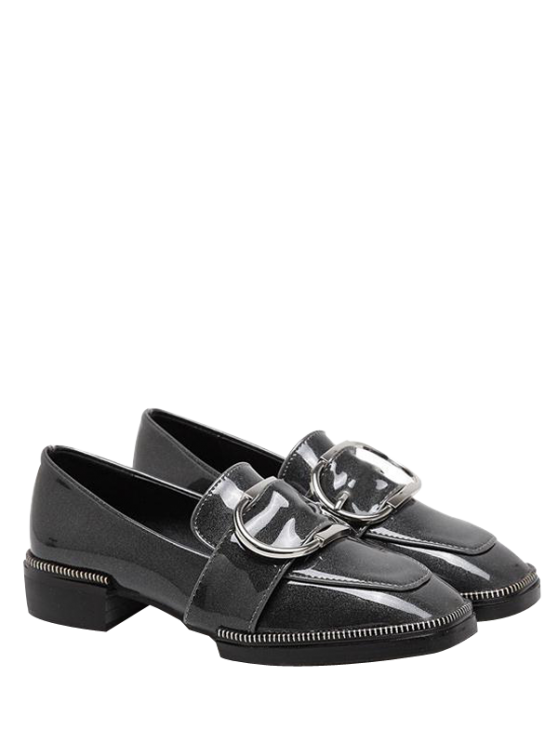fashion Buckle Strap Square Toe Flat Shoes - GRAY 37