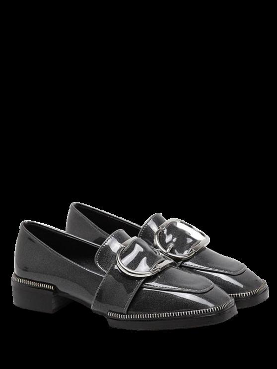 Hebilla cuadrada de la correa del dedo del pie zapatos planos - Gris 37