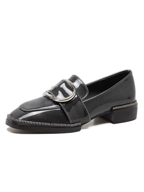 Buckle Strap Square Toe Flat Shoes - GRAY 38 Mobile