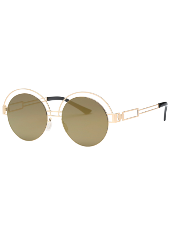 womens Hollow Out Metallic Round Sunglasses - GOLDEN+LUXURY GOLD COLOR