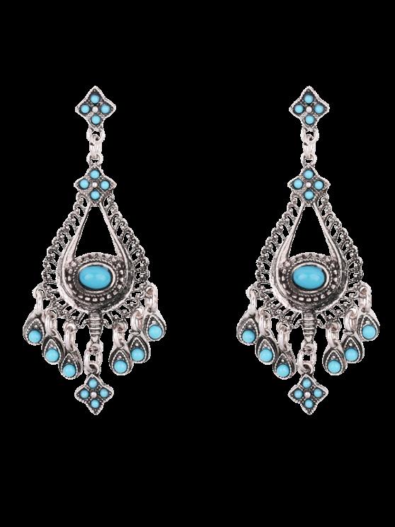 Boucles d'oreilles en chandeliers agrémentées de fausses pierres - Bleu