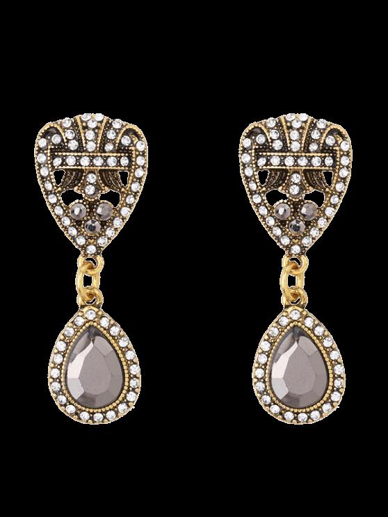 chic Rhinestone Teardrop Heart Earrings - GOLDEN