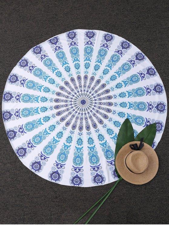 Couverture de plage ronde à motifs cachemire géométriques - Bleu TAILLE MOYENNE