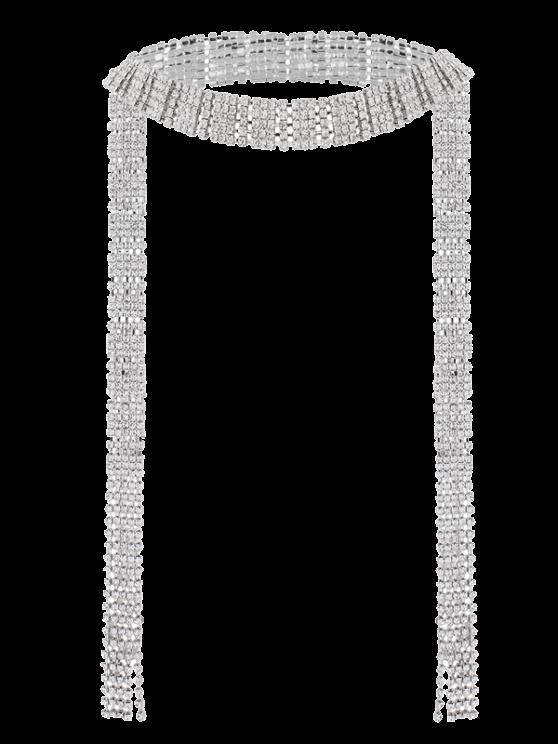 Collier porte-feuille de strass frangé - Argent