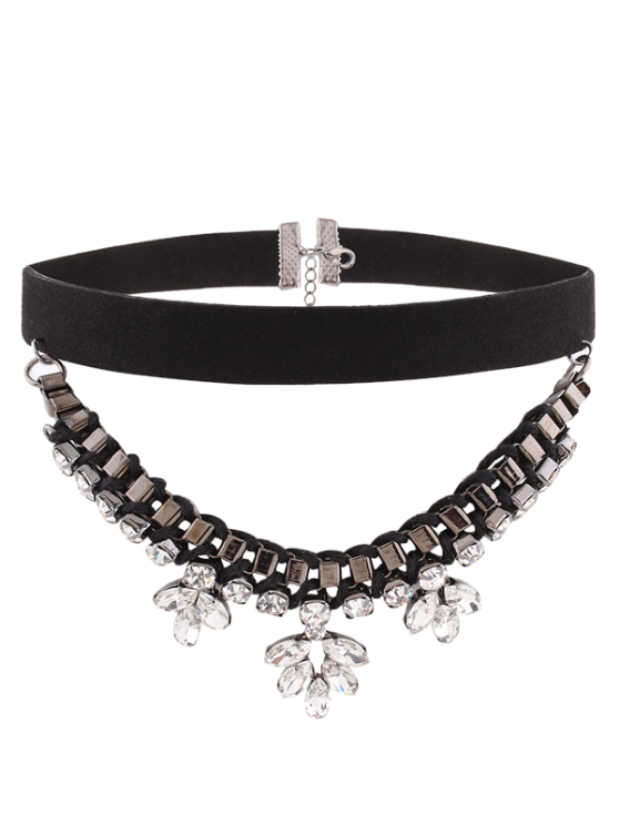 women's Flower Rhinestone Faux Suede Layered Choker - BLACK