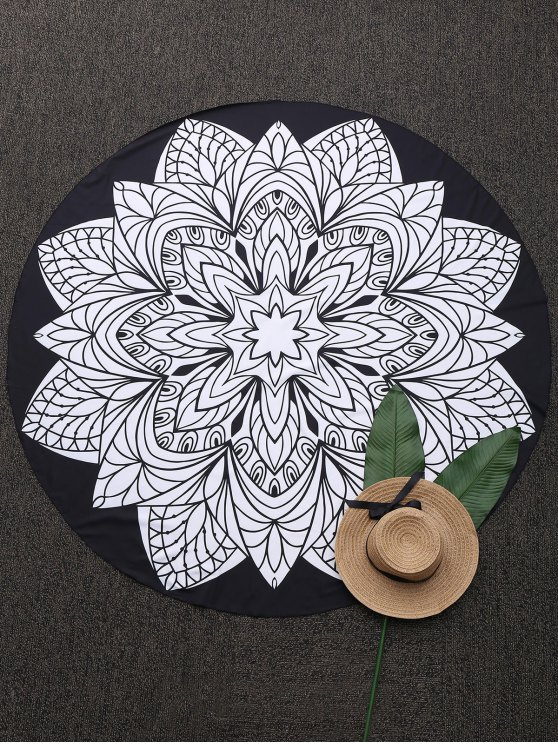 Convertible 3D Print Round Beach Blanket - BLACK ONE SIZE(FIT SIZE XS TO M) Mobile