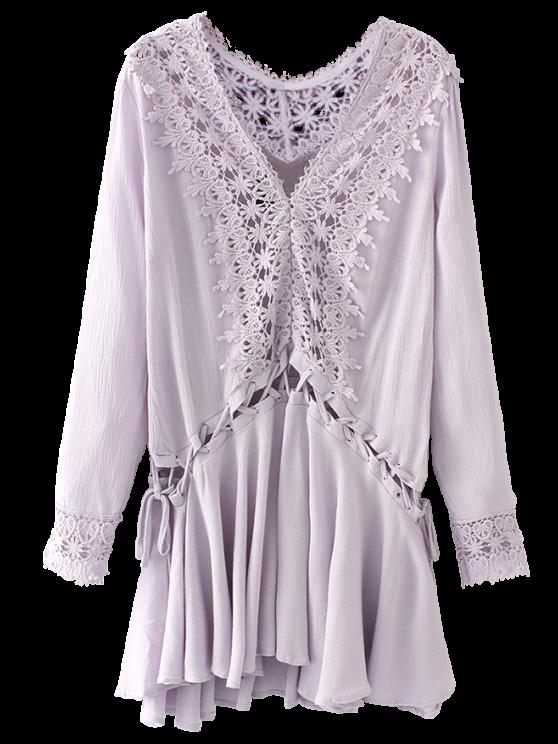 fancy Lace Trim Lace Up Tunic Dress - PURPLE S