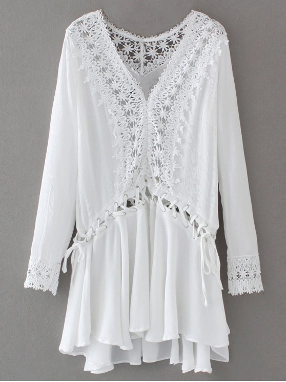affordable Lace Trim Lace Up Tunic Dress - WHITE S