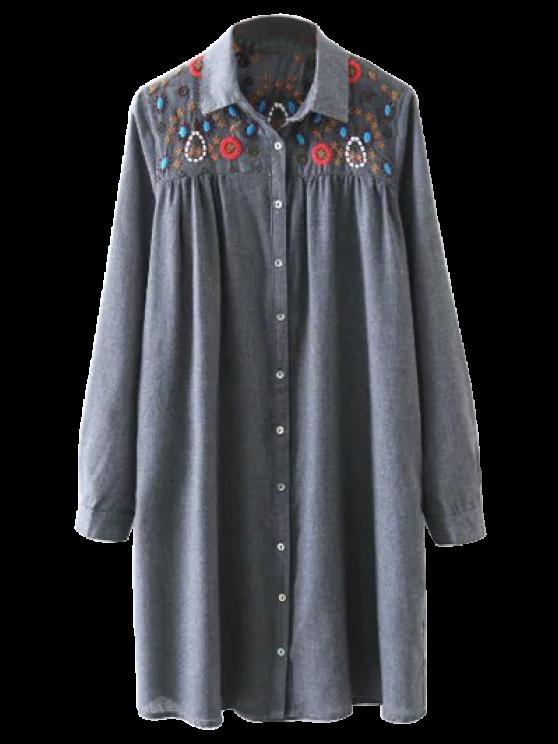 womens Embroidered Yoke Smock Shirt Dress - GRAY M